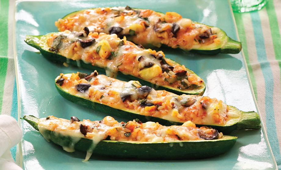 Paula Deen Cuts the Fat, 250 Favorite Recipes All Lightened Up, Exclusive: Zucchini Boats with Tomato, Rice, and Olives