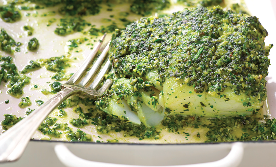 Paula Deen Cuts the Fat, 250 Favorite Recipes All Lightened Up, Exclusive: Pesto-Marinated Cod