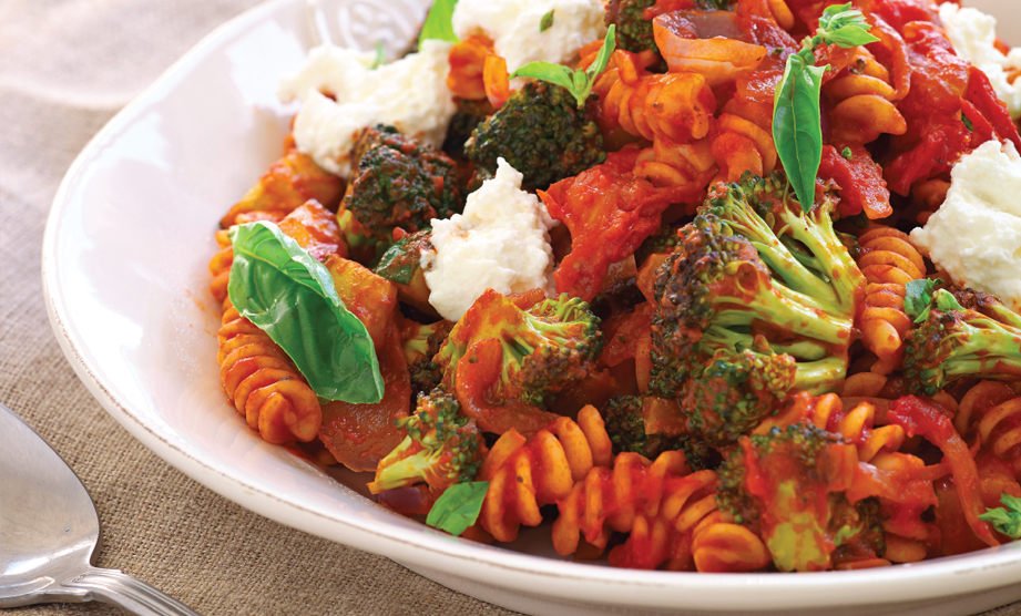 Paula Deen Cuts the Fat, 250 Favorite Recipes All Lightened Up, Exclusive: Fusilli with Roasted Vegetables and Ricotta