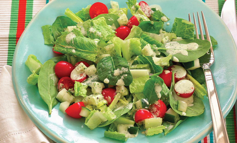 Paula Deen Cuts the Fat, 250 Favorite Recipes All Lightened Up, Exclusive: Double Green Salad with Green Goddess Dressing