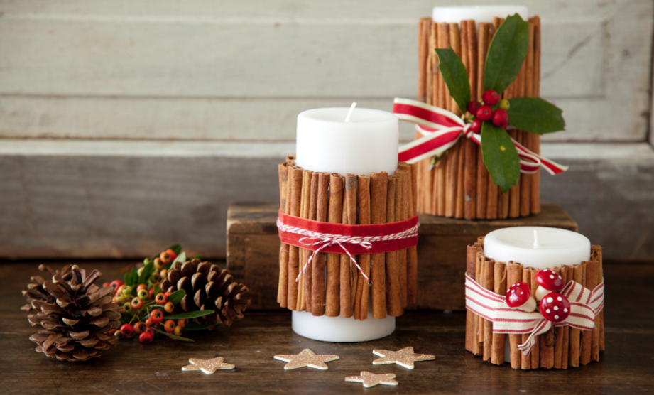 DIY Holiday Cinnamon Stick Candle