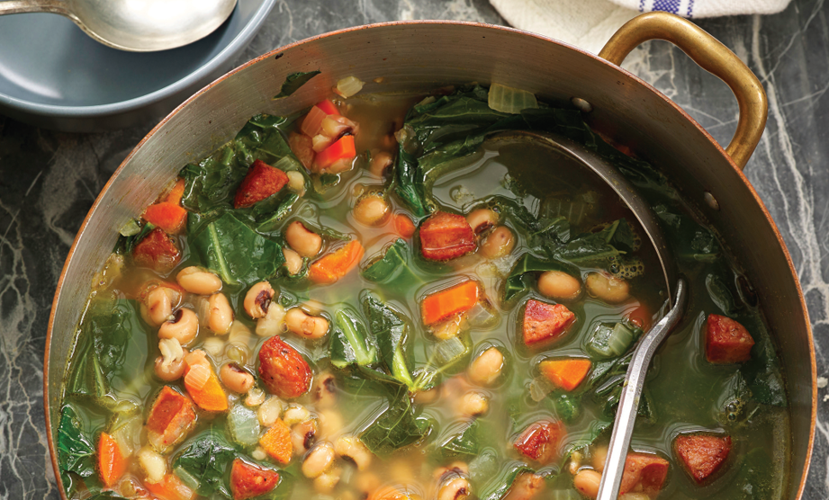 Paula Deen Cuts the Fat, 250 Favorite Recipes All Lightened Up, Exclusive: Collard Greens Soup with Black-Eyed Peas and Sausage