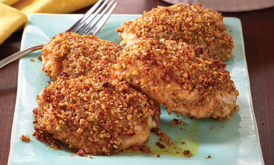 Paula Deen Cuts the Fat, 250 Favorite Recipes All Lightened Up, Exclusive: Pecan-Crusted Chicken Thighs