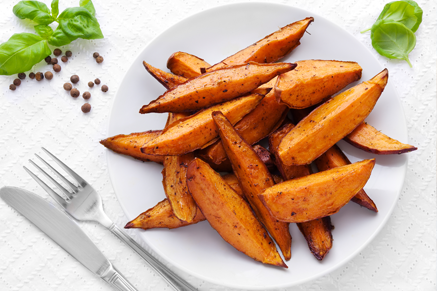 Lighter Roasted Sweet Potato Wedges