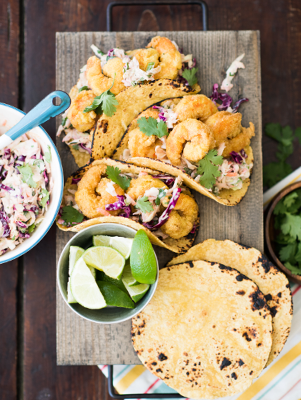 Adobo Shrimp Tacos with Smoked BBQ Chipotle Coleslaw
