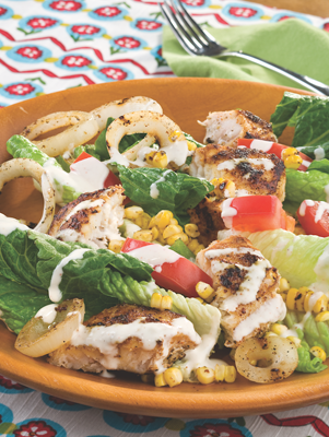 Seared Snapper, Corn, and Onion Salad with Creamy Lime Cumin Dressing Thumbnail