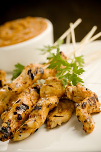 Chicken Satay with Peanut Butter BBQ Sauce Thumbnail