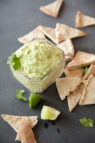 Avocado Goat Cheese Dip with Whole-Wheat Pita Chip Thumbnail