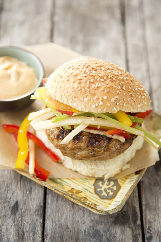 Chicken Burgers With Rainbow Sesame Slaw Thumbnail