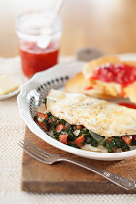Bobby's Egg White Omelets with Spinach and Tomato Thumbnail