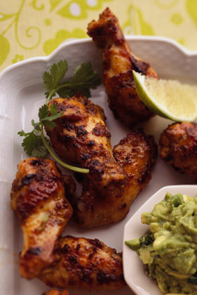 Lime-Marinated Chicken Wings with Avocado Dip Thumbnail