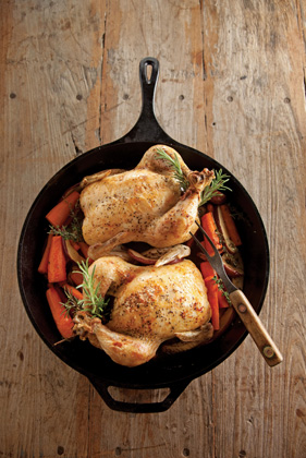 Skillet Roasted Apple Stuffed Chicken and Herbed Carrots Thumbnail