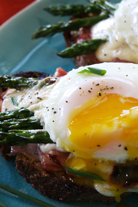 The Deen Bros. Lighter Asparagus Croque Madame Thumbnail