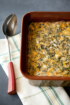 The Deen Bros. Lighter No-Crust Creamed Spinach Quiche Thumbnail