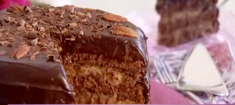 German Chocolate Cake with Coconut Custard Filling Thumbnail