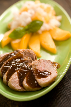 Marinated Pork Tenderloin with Sticky Rice and Mangoes Thumbnail