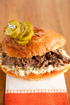 Slow Cooker Pulled Pickled Beef Sandwiches Thumbnail