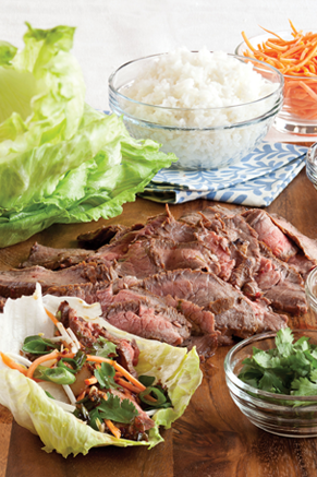 Onion-Sesame Flank Steak Lettuce Wraps Thumbnail