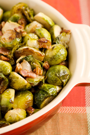 Roasted Brussels Sprouts with Bacon and Pecans Thumbnail