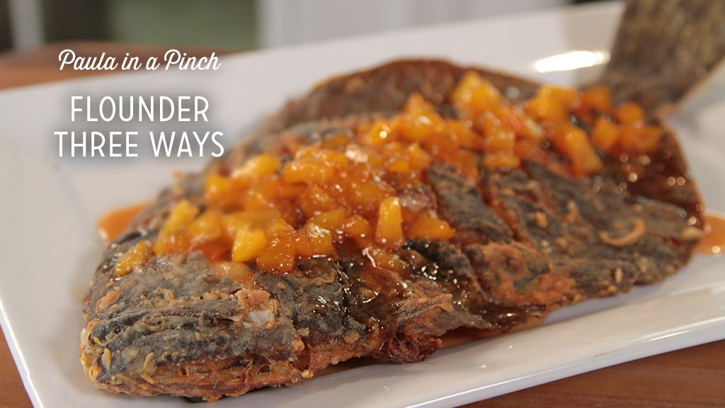 Whole Scored Fried Flounder With Sweet Peach And Hot Pepper Jelly Sauce Paula Deen