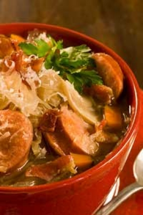 Lighter Slow Cooker Smoked Pork, Lentil, and Sauerkraut Soup Thumbnail