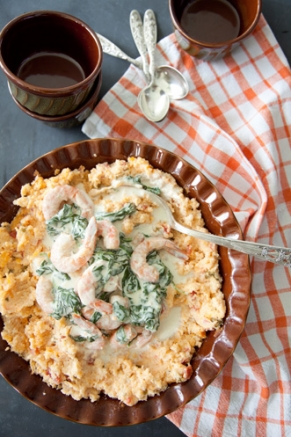 Lighter Shrimp Florentine Over Tomato Grits Thumbnail