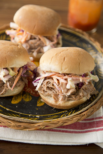 Slow Cooker Pulled Pork Sandwiches and Buttermilk Coleslaw Thumbnail