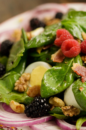 Spinach Salad with a Hot Blackberry Walnut Dressing Thumbnail