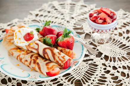 Old Fashioned Crepes with Fresh Strawberry Compote and Grand Marnier Whipped Cream Thumbnail