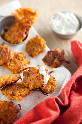 Sweet Potato Chili Cakes With Cilantro Lime Sauce Thumbnail