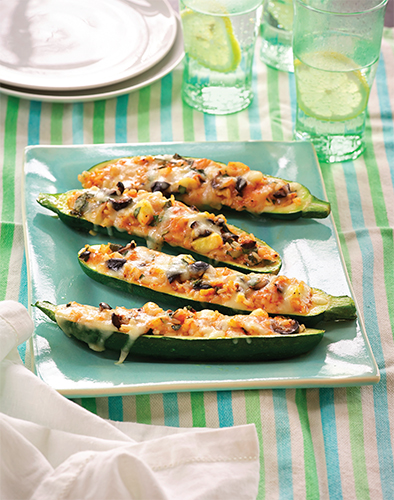 Paula Deen Cuts the Fat: Zucchini Boats with Tomato, Rice, and Olives Thumbnail
